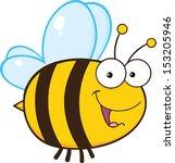 Cute Bee Cartoon Mascot Character - stock vector