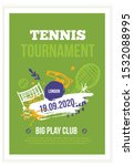 tennis poster in grunge style ... | Shutterstock .eps vector #1532088995