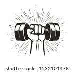 arm with dumbbell. gym club ... | Shutterstock .eps vector #1532101478