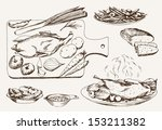 dish of wild ducks. set of... | Shutterstock .eps vector #153211382