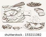dish of wild ducks. set of...   Shutterstock .eps vector #153211382