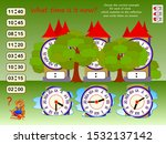 Stock vector logic puzzle game for children what time is it choose correct example for each clock which 1532137142