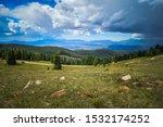 Small photo of Greenhorn mountain range and beautiful Colorado sky.
