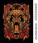 orange panda head roaring with... | Shutterstock .eps vector #1532334605
