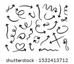hand drawn black arrows. curved ... | Shutterstock .eps vector #1532413712