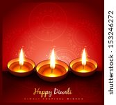 beautiful stylish diwali diya... | Shutterstock .eps vector #153246272