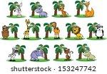 set of cartoon animals   vector | Shutterstock .eps vector #153247742