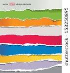 torn paper set  vector | Shutterstock .eps vector #153250895