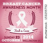 Vector breast cancer awareness poster with ribbon.