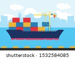 illustration cargo ship... | Shutterstock .eps vector #1532584085