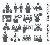 conference icons set on white... | Shutterstock .eps vector #1532597705
