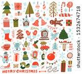 big set of christmas design... | Shutterstock .eps vector #1532674718