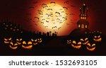 halloween pumpkins at cemetery... | Shutterstock . vector #1532693105