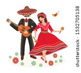 Dancing Couple In Mexican Folk...