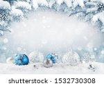 merry christmas card. blue... | Shutterstock . vector #1532730308