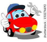 the red car in the cap  holding ... | Shutterstock . vector #153276692