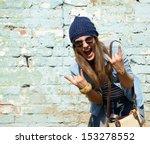 portrait of beautiful cool girl ... | Shutterstock . vector #153278552