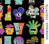 cute monsters on black  ... | Shutterstock .eps vector #153279776