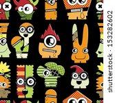 cute monsters on black  ... | Shutterstock .eps vector #153282602