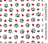 Doodle Black Paw Print With Re...