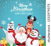 greeting christmas santa  deer  ... | Shutterstock .eps vector #1532979575