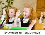 children raising hands knowing... | Shutterstock . vector #153299525