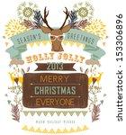 christmas reindeer   Shutterstock .eps vector #153306896