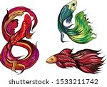 siamise fighting fish isolate... | Shutterstock .eps vector #1533211742