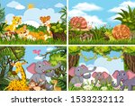 set of various animals in... | Shutterstock .eps vector #1533232112