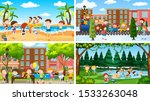set of scenes in nature setting ... | Shutterstock .eps vector #1533263048