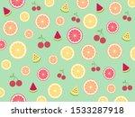 seamless cute tropical mix... | Shutterstock .eps vector #1533287918
