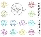 cinema tape multi color icon....