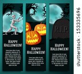 set of halloween banners with... | Shutterstock .eps vector #153335696