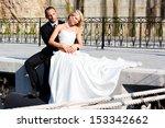 happy couple walking on the... | Shutterstock . vector #153342662