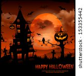 halloween night background with ... | Shutterstock .eps vector #153355442