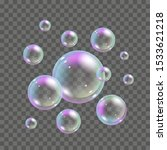 soap bubbles with rainbow... | Shutterstock .eps vector #1533621218