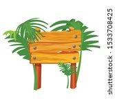 empty wooden sign flat color... | Shutterstock .eps vector #1533708425
