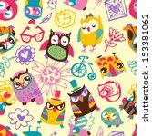 owl seamless background. hand... | Shutterstock .eps vector #153381062