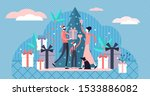 flat tiny family christmas... | Shutterstock .eps vector #1533886082
