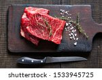 Beef Cut  Raw Flat Iron Steaks...