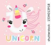 alphabet letter u for unicorn... | Shutterstock .eps vector #1534013918