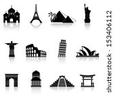 World famous buildings abstract silhouettes - stock vector