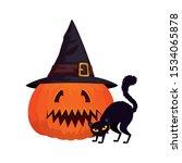 halloween pumpkin with hat... | Shutterstock .eps vector #1534065878