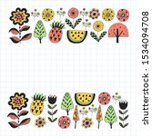 floral pattern with fox in... | Shutterstock .eps vector #1534094708
