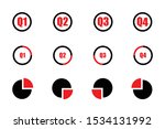 Quarterly Icon Set Red And...