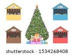 christmas market set of shops ... | Shutterstock .eps vector #1534268408