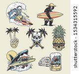 a set of edgy surf and beach... | Shutterstock .eps vector #1534315592