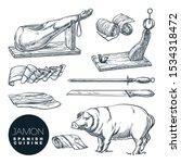 delicious iberian pork jamon... | Shutterstock .eps vector #1534318472
