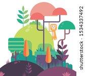 forest tree mountain monkey art   Shutterstock . vector #1534337492