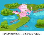 illustration of magic dragon... | Shutterstock . vector #1534377332